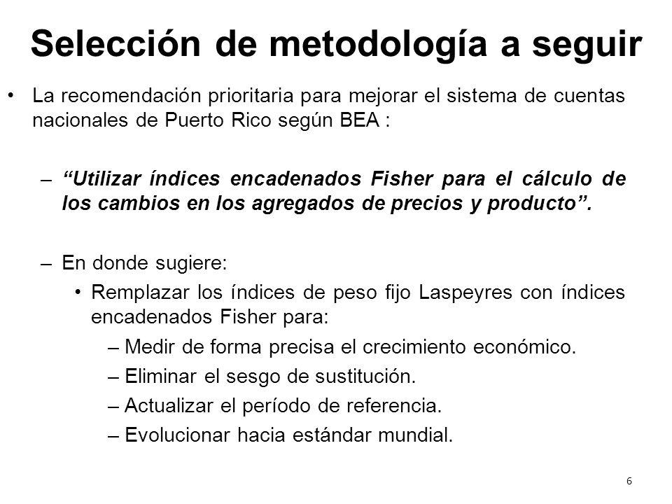 La recomendación prioritaria para mejorar el sistema de cuentas nacionales de Puerto Rico según BEA : –Utilizar índices encadenados Fisher para el cál