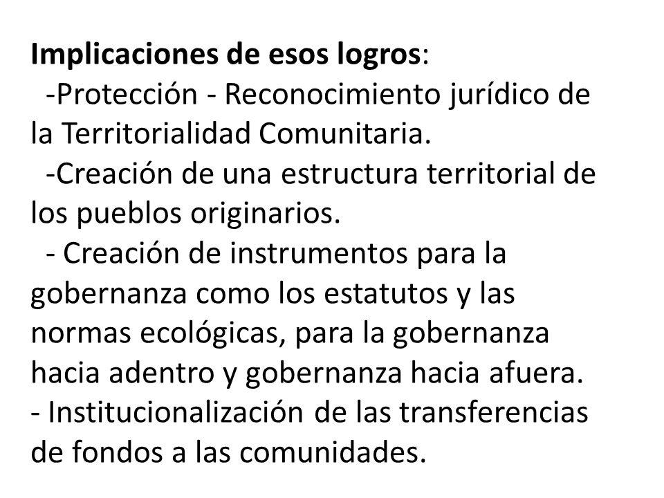 Implicaciones de esos logros: -Protección - Reconocimiento jurídico de la Territorialidad Comunitaria.