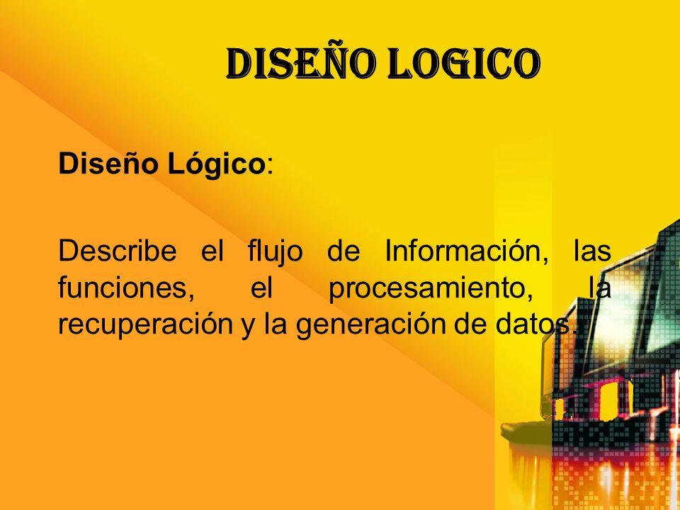DISEÑO LOGICO Diseño Lógico: Describe el flujo de Información, las funciones, el procesamiento, la recuperación y la generación de datos.