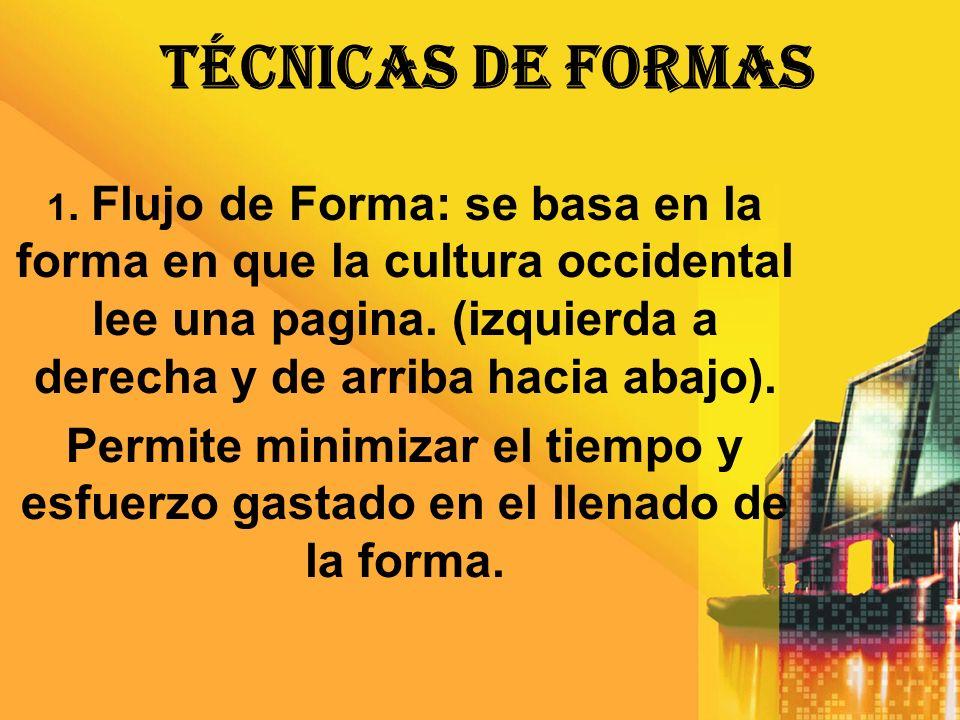 TÉCNICAS DE FORMAS 1. Flujo de Forma: se basa en la forma en que la cultura occidental lee una pagina. (izquierda a derecha y de arriba hacia abajo).