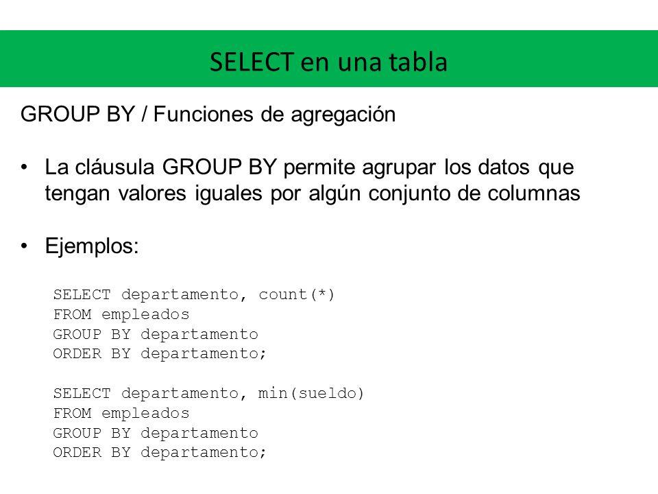 SELECT en una tabla GROUP BY / Funciones de agregación Funciones de agregación: count, min, max, sum, avg (otras dependen del RDBMS) HAVING: Permite filtrar sobre los resultados de las funciones de agregación Ejemplo: departamentos y cantidad de empleados, de los departamentos que tengan al menos 10 empleados SELECT departamento, count(*) FROM empleados GROUP BY departamento HAVING count(*) >= 10;
