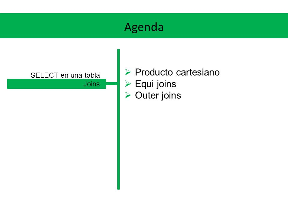 Agenda Producto cartesiano Equi joins Outer joins SELECT en una tabla Joins