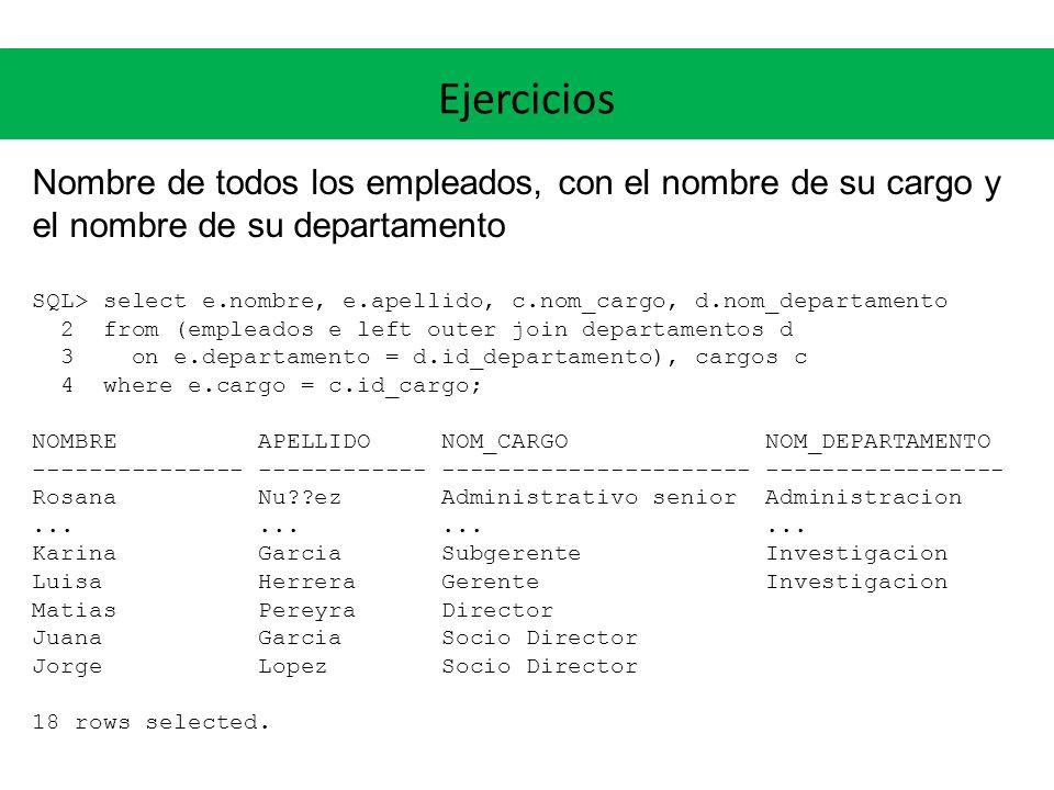 Ejercicios Nombre de todos los empleados, con el nombre de su cargo y el nombre de su departamento SQL> select e.nombre, e.apellido, c.nom_cargo, d.no