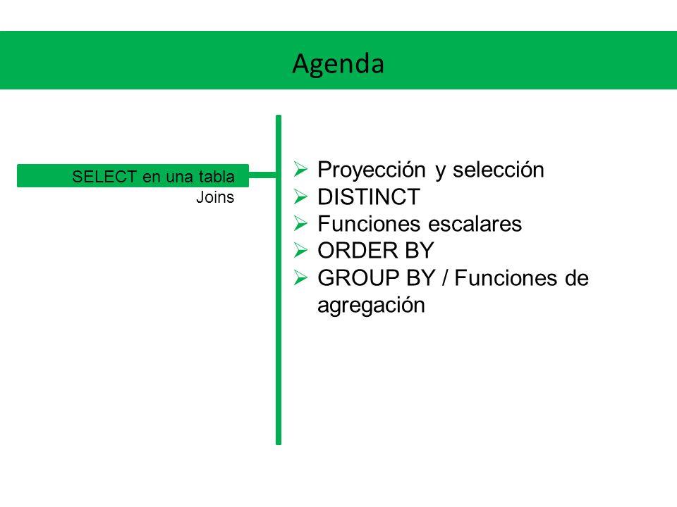SELECT en una tabla Proyección y selección La proyección permite seleccionar las columnas, la selección permite seleccionar las tuplas