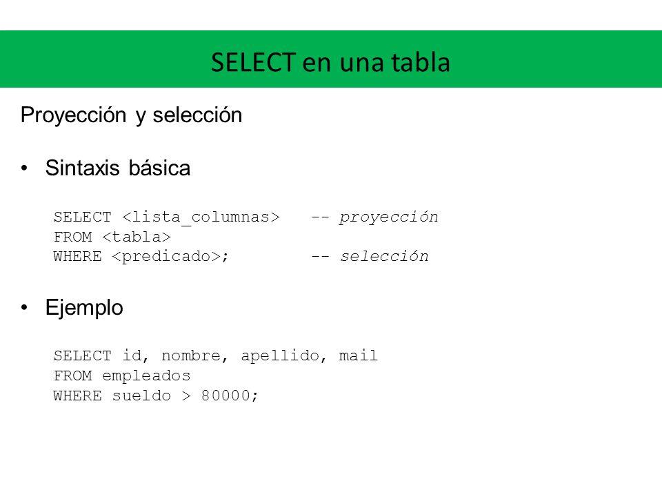 SELECT en una tabla DISTINCT Al realizar proyección, se pueden perder las claves y pueden aparecer tuplas repetidas La cláusula DISTINCT permite eliminar las tuplas duplicadas Ejemplo SELECT DISTINCT apellido FROM empleados WHERE sueldo > 80000;