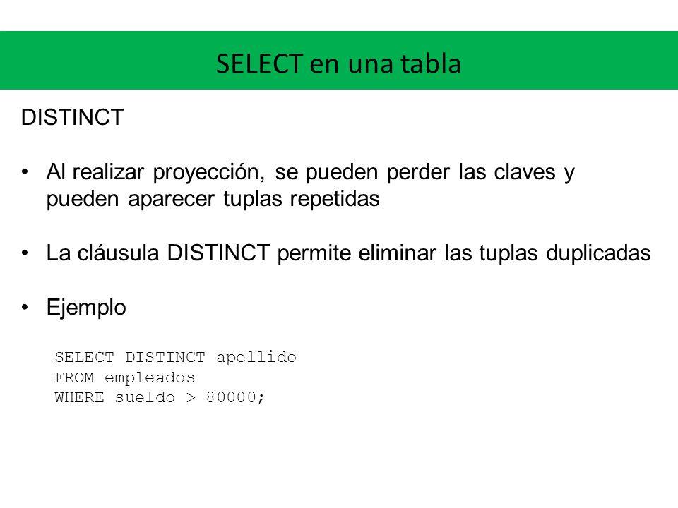 SELECT en una tabla Funciones escalares Los predicados pueden incluir funciones escalares built-in (predefinidas) o creadas por el usuario.