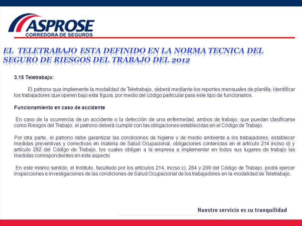 3.15 Teletrabajo: El patrono que implemente la modalidad de Teletrabajo, deberá mediante los reportes mensuales de planilla, identificar los trabajado