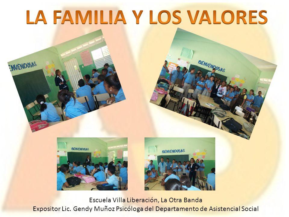 Escuela Villa Liberación, La Otra Banda Expositor Lic. Gendy Muñoz Psicóloga del Departamento de Asistencial Social