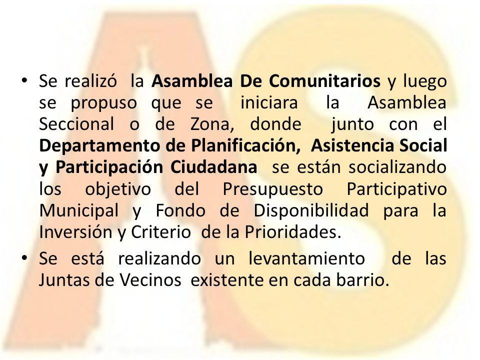 Se realizó la Asamblea De Comunitarios y luego se propuso que se iniciara la Asamblea Seccional o de Zona, donde junto con el Departamento de Planific