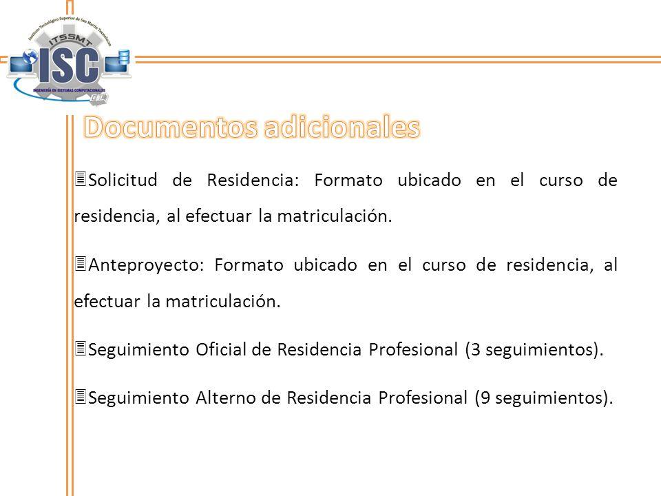 Solicitud de Residencia: Formato ubicado en el curso de residencia, al efectuar la matriculación. Anteproyecto: Formato ubicado en el curso de residen