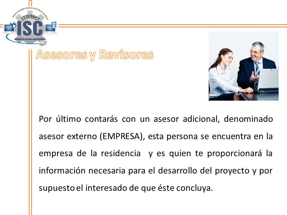 Por último contarás con un asesor adicional, denominado asesor externo (EMPRESA), esta persona se encuentra en la empresa de la residencia y es quien