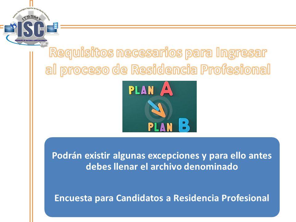 Podrán existir algunas excepciones y para ello antes debes llenar el archivo denominado Encuesta para Candidatos a Residencia Profesional