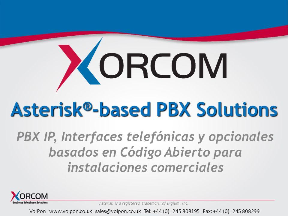 VoIPon www.voipon.co.uk sales@voipon.co.uk Tel: +44 (0)1245 808195 Fax: +44 (0)1245 808299 Astribank: introducción Banco de canales para plataformas Asterisk Puertos FXS, FXO, PRI, BRI-RDSI Hasta 32 puertos analógicos por chasis Conexión USB directa al servidor Asterisk Drivers nativos en Asterisk Auto detección de puertos analógicos/digitales Soporte de periféricos (puertos de entrada/salida I/O) Todas las unidades sonTwinStar-readyTwinStar Fuente de alimentación redundante (opcional) Fuente de alimentación redundante * Astribank USB Servidor Asterisk