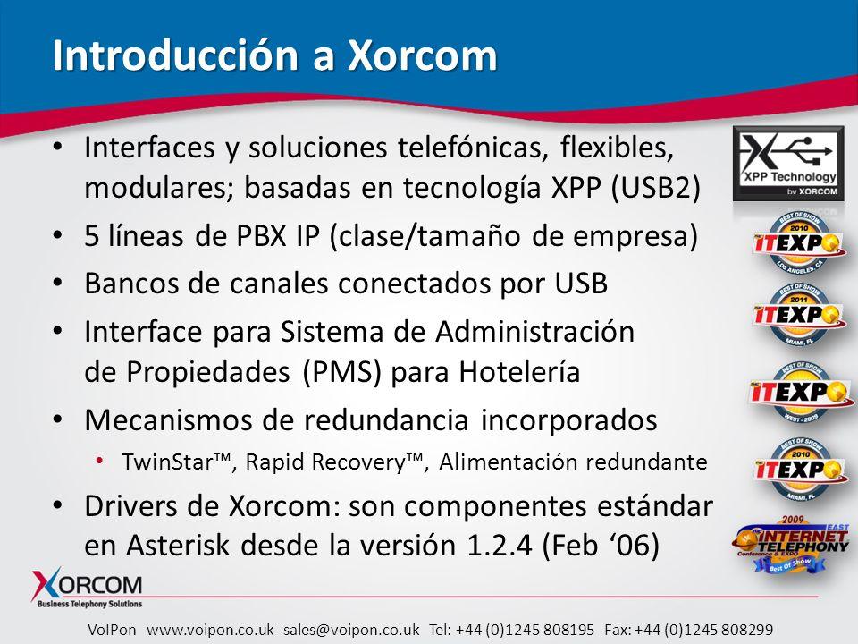 VoIPon www.voipon.co.uk sales@voipon.co.uk Tel: +44 (0)1245 808195 Fax: +44 (0)1245 808299 XE2000 y XE3000 Pánel LCD táctil Configuración de Red Estado: de Red, de HW, monitoreo de fuente redundante (de Astribank) Mantenimiento – rebuteo, proceso de reinicialización RAID1 Ventiladores redundantes Puerto Ethernet adicional Backup y restauración interna XE3000 – procesador quad-core; 4GB RAM