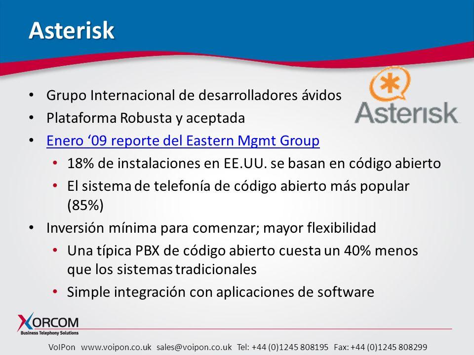 VoIPon www.voipon.co.uk sales@voipon.co.uk Tel: +44 (0)1245 808195 Fax: +44 (0)1245 808299 Astribank Astribank Banco de Canales para Asterisk ® – Best of Show en categoría Código Abierto – IT Expo West 2009