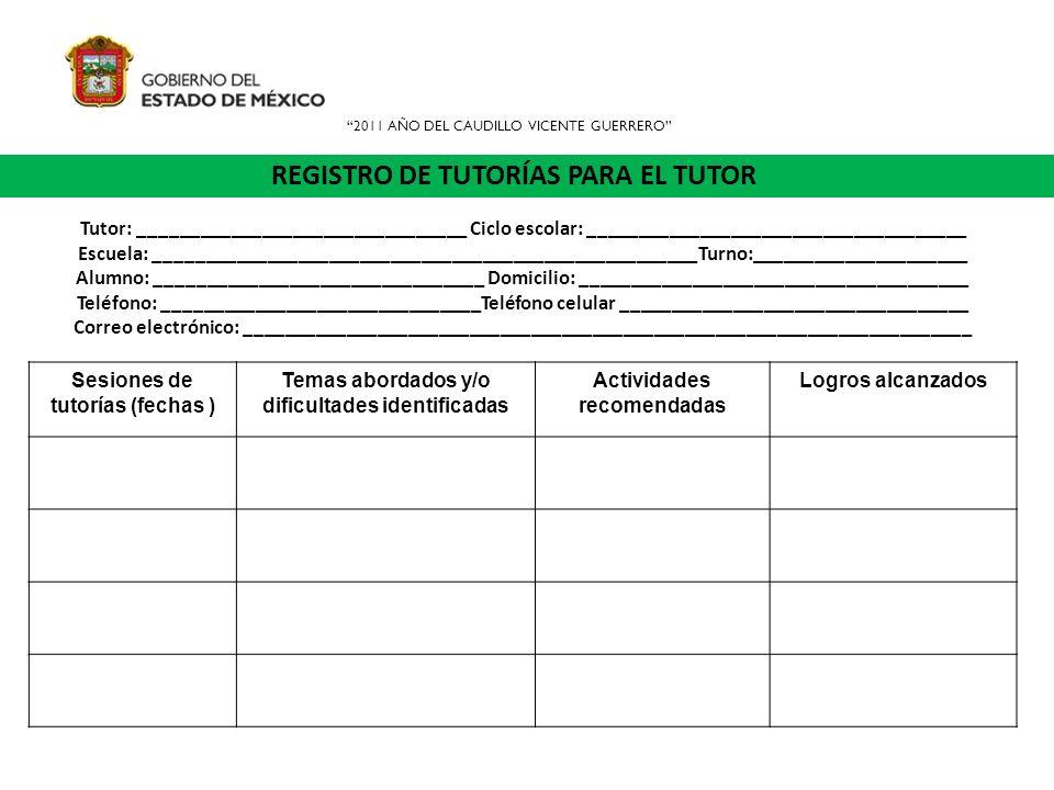 REGISTRO DE TUTORÍAS PARA EL TUTOR Sesiones de tutorías (fechas ) Temas abordados y/o dificultades identificadas Actividades recomendadas Logros alcan