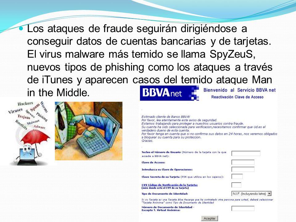 Los ataques de fraude seguirán dirigiéndose a conseguir datos de cuentas bancarias y de tarjetas. El virus malware más temido se llama SpyZeuS, nuevos