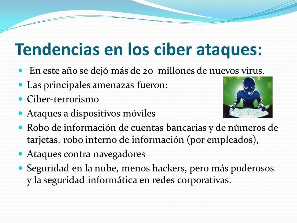 Tendencias en los ciber ataques: En este año se dejó más de 20 millones de nuevos virus. Las principales amenazas fueron: Ciber-terrorismo Ataques a d