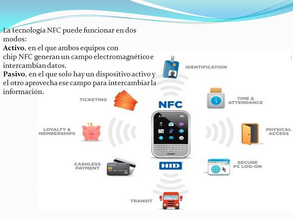 La tecnología NFC puede funcionar en dos modos: Activo, en el que ambos equipos con chip NFC generan un campo electromagnético e intercambian datos. P
