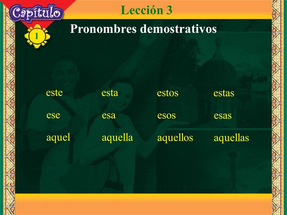 1 este esta estos estas ese esa esos esas aquel aquella aquellos aquellas Pronombres demostrativos Lección 3