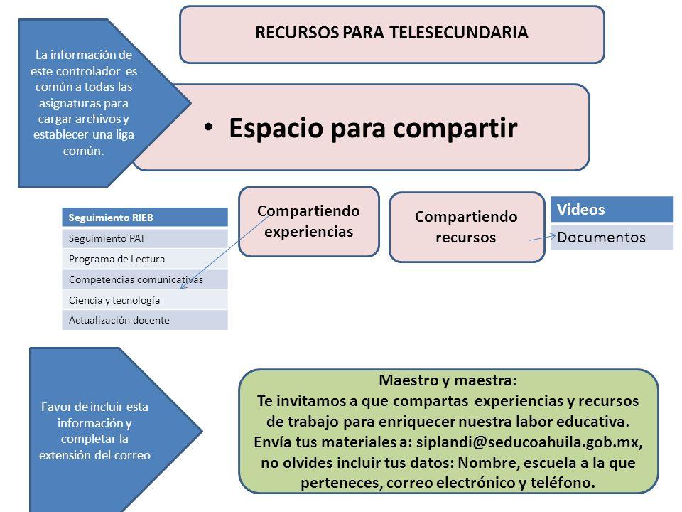 Espacio para compartir Compartiendo experiencias Compartiendo recursos Videos Documentos La información de este controlador es común a todas las asign