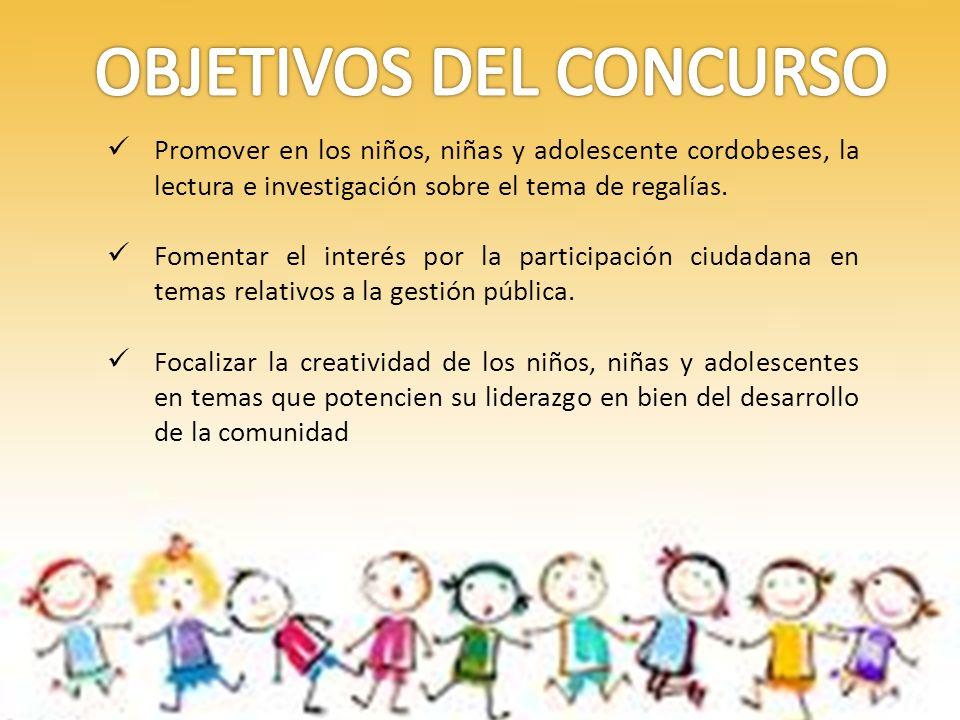 Promover en los niños, niñas y adolescente cordobeses, la lectura e investigación sobre el tema de regalías.