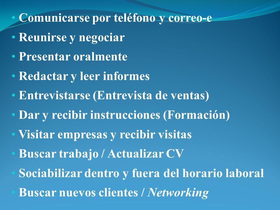 Comunicarse por teléfono y correo-e Reunirse y negociar Presentar oralmente Redactar y leer informes Entrevistarse (Entrevista de ventas) Dar y recibi