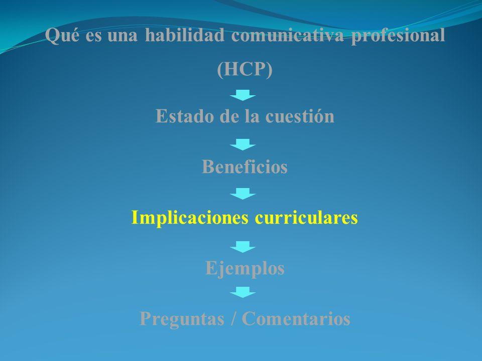 Qué es una habilidad comunicativa profesional (HCP) Estado de la cuestión Beneficios Implicaciones curriculares Ejemplos Preguntas / Comentarios