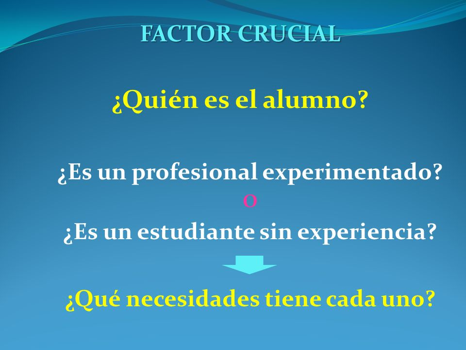 FACTOR CRUCIAL ¿Quién es el alumno? ¿Es un profesional experimentado? O ¿Es un estudiante sin experiencia? ¿Qué necesidades tiene cada uno?
