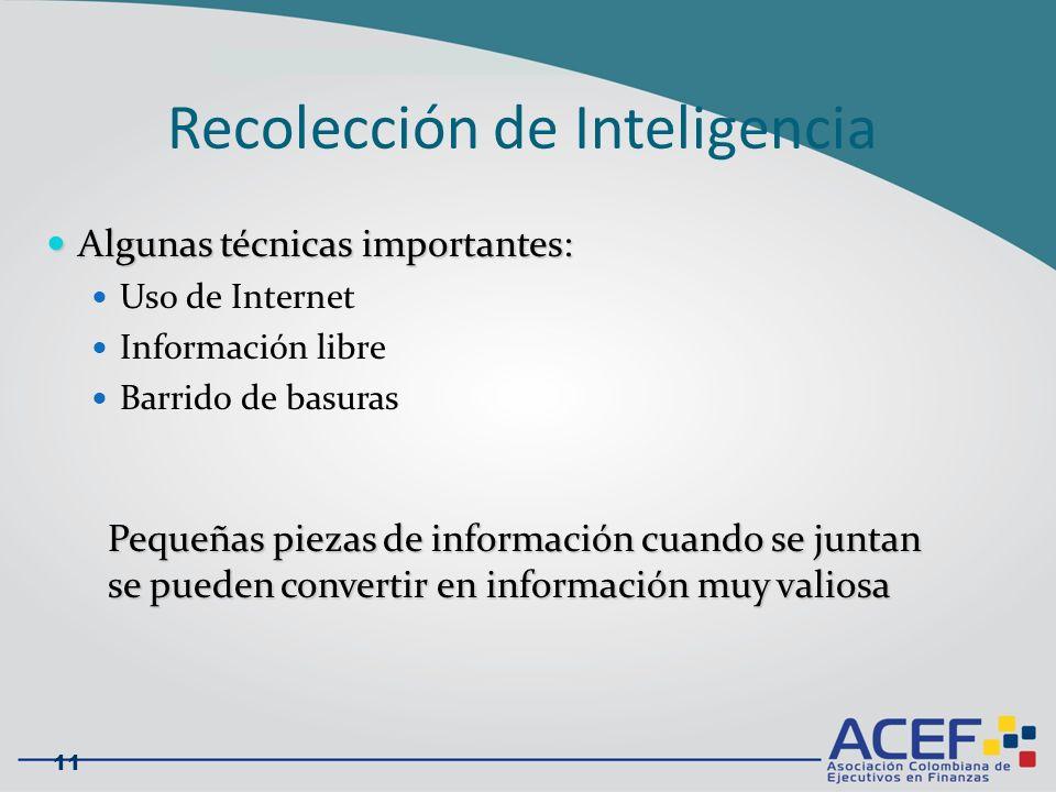 Recolección de Inteligencia Algunas técnicas importantes: Algunas técnicas importantes: Uso de Internet Información libre Barrido de basuras 11 Pequeñas piezas de información cuando se juntan se pueden convertir en información muy valiosa