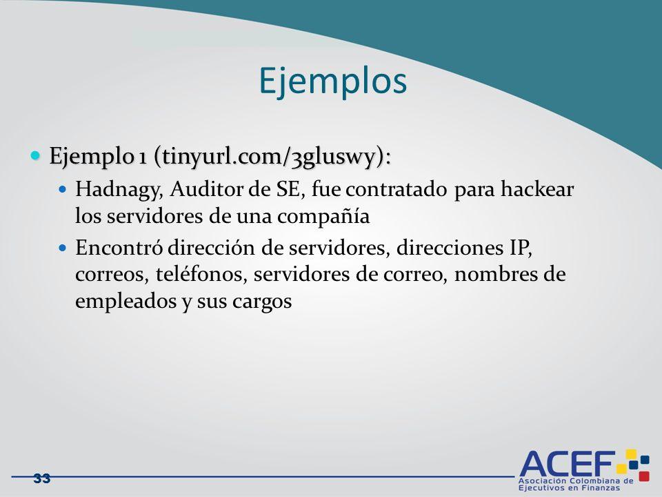Ejemplos Ejemplo 1 (tinyurl.com/3gluswy): Ejemplo 1 (tinyurl.com/3gluswy): Hadnagy, Auditor de SE, fue contratado para hackear los servidores de una compañía Encontró dirección de servidores, direcciones IP, correos, teléfonos, servidores de correo, nombres de empleados y sus cargos 33