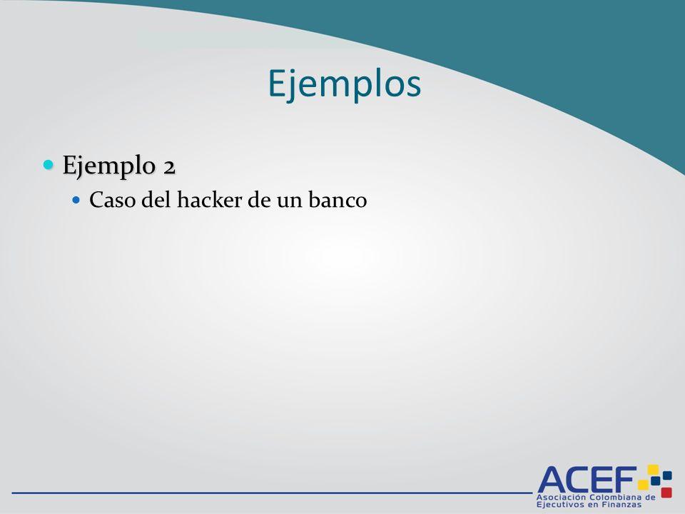 Ejemplo 2 Ejemplo 2 Caso del hacker de un banco Ejemplos