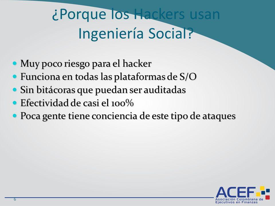 Funciona en todas las plataformas de S/O Funciona en todas las plataformas de S/O Sin bitácoras que puedan ser auditadas Sin bitácoras que puedan ser auditadas Efectividad de casi el 100% Efectividad de casi el 100% Poca gente tiene conciencia de este tipo de ataques Poca gente tiene conciencia de este tipo de ataques 6 ¿Porque los Hackers usan Ingeniería Social