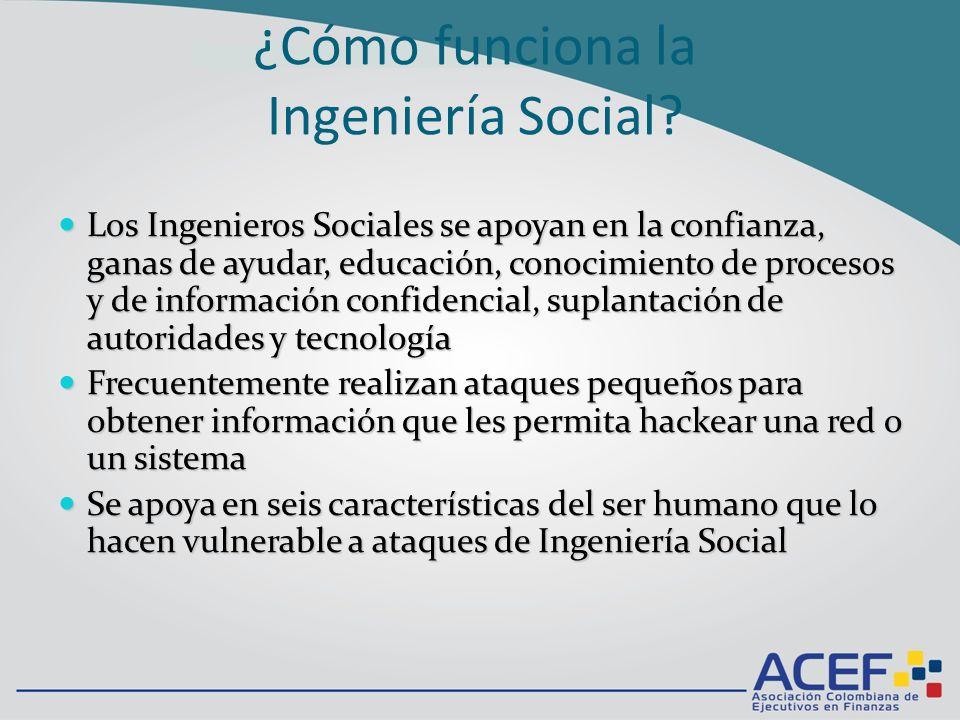 Barreras anti-Ingeniería Social MUY IMPORTANTE el apoyo de la alta directiva de la empresa MUY IMPORTANTE el apoyo de la alta directiva de la empresa Demostrar vulnerabilidades personales (Juegos de roles orientados por expertos y sicólogos).