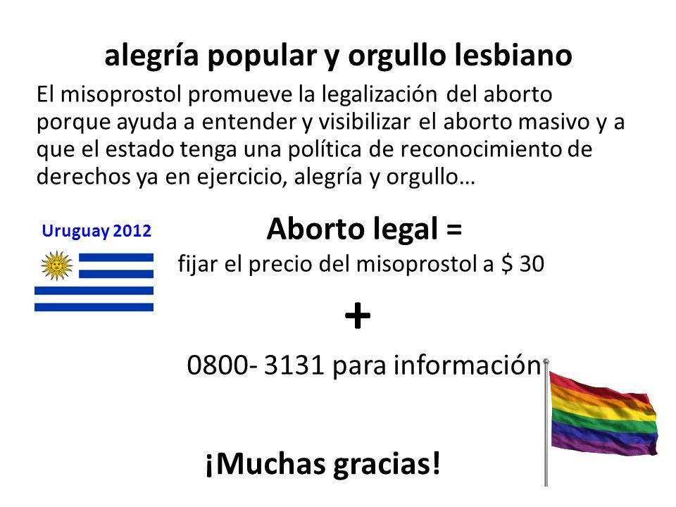 alegría popular y orgullo lesbiano El misoprostol promueve la legalización del aborto porque ayuda a entender y visibilizar el aborto masivo y a que e