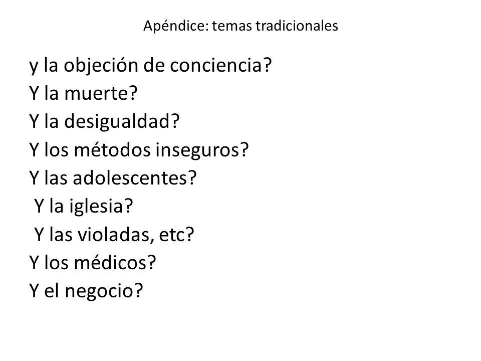 Apéndice: temas tradicionales y la objeción de conciencia? Y la muerte? Y la desigualdad? Y los métodos inseguros? Y las adolescentes? Y la iglesia? Y