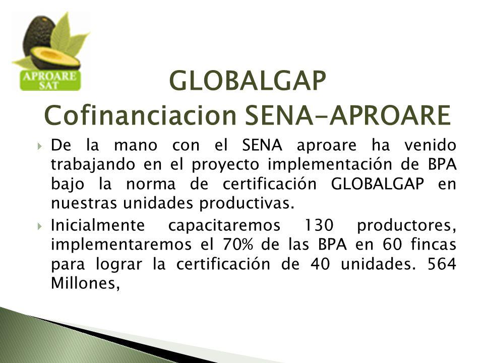 GLOBALGAP Cofinanciacion SENA-APROARE De la mano con el SENA aproare ha venido trabajando en el proyecto implementación de BPA bajo la norma de certificación GLOBALGAP en nuestras unidades productivas.