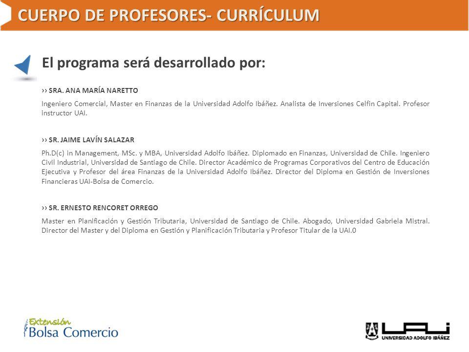 CUERPO DE PROFESORES- CURRÍCULUM El programa será desarrollado por: SRA. ANA MARÍA NARETTO Ingeniero Comercial, Master en Finanzas de la Universidad A