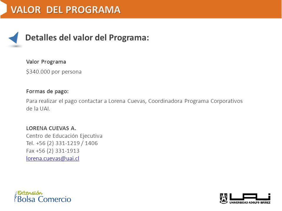 VALOR DEL PROGRAMA Detalles del valor del Programa: Valor Programa $340.000 por persona Formas de pago: Para realizar el pago contactar a Lorena Cueva