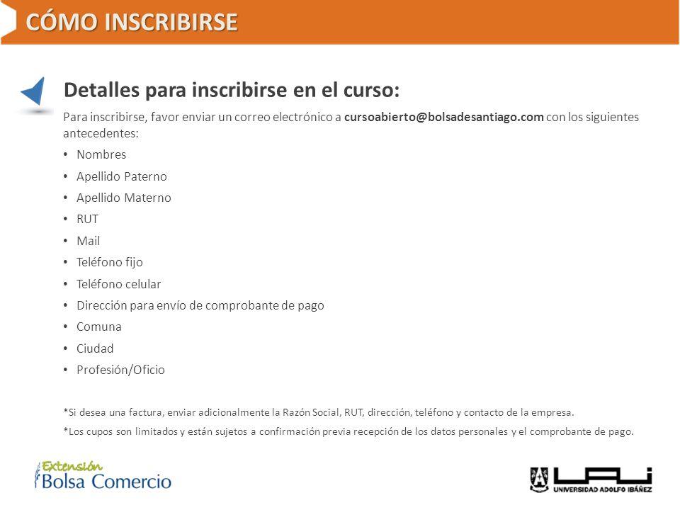 CÓMO INSCRIBIRSE Detalles para inscribirse en el curso: Para inscribirse, favor enviar un correo electrónico a cursoabierto@bolsadesantiago.com con lo
