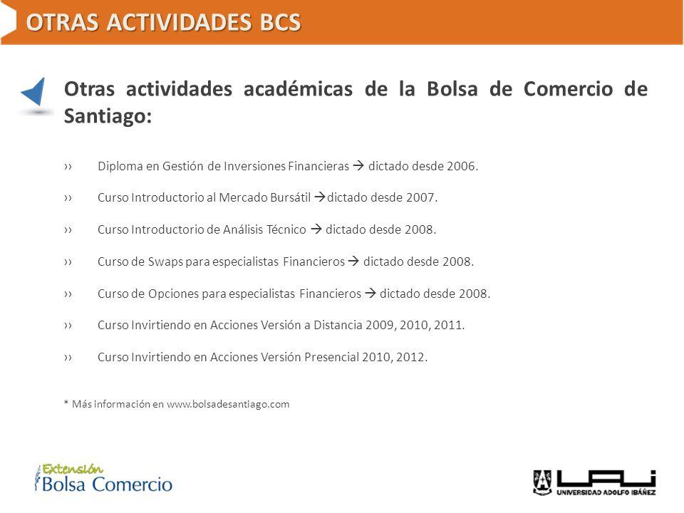 OTRAS ACTIVIDADES BCS Otras actividades académicas de la Bolsa de Comercio de Santiago: Diploma en Gestión de Inversiones Financieras dictado desde 20