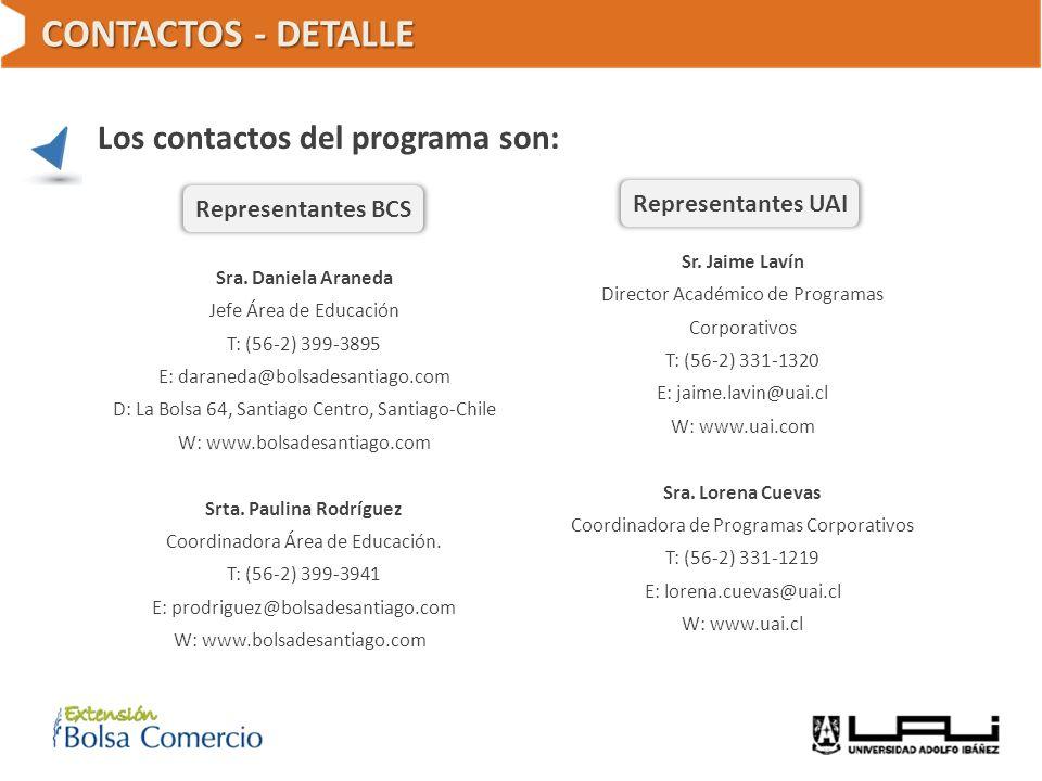 CONTACTOS - DETALLE Los contactos del programa son: Sra. Daniela Araneda Jefe Área de Educación T: (56-2) 399-3895 E: daraneda@bolsadesantiago.com D:
