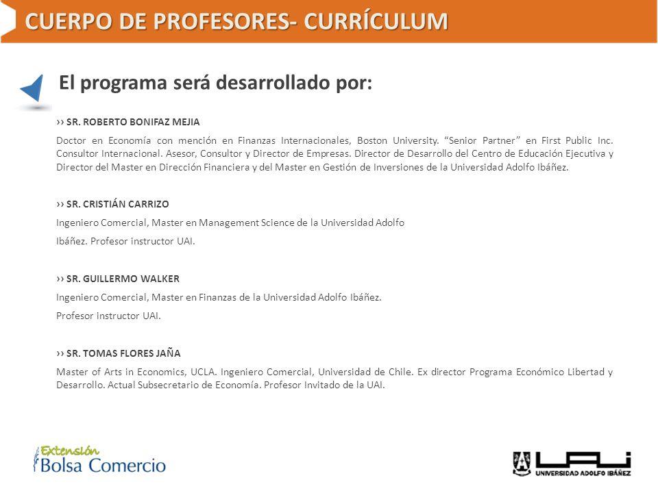 CUERPO DE PROFESORES- CURRÍCULUM El programa será desarrollado por: SR. ROBERTO BONIFAZ MEJIA Doctor en Economía con mención en Finanzas Internacional