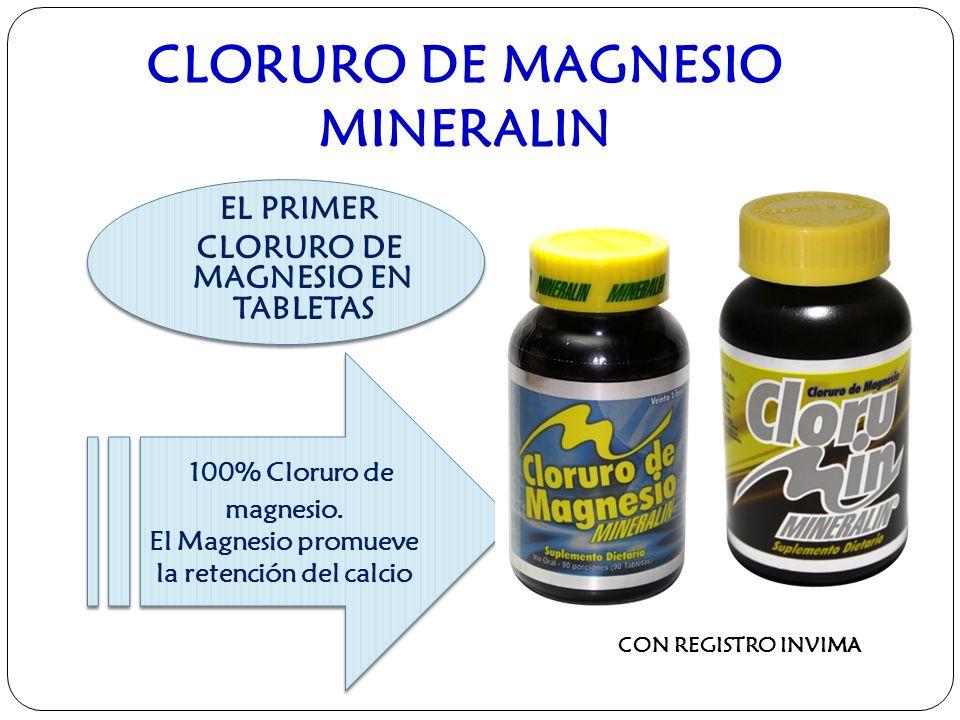 CLORURO DE MAGNESIO MINERALIN CON REGISTRO INVIMA EL PRIMER CLORURO DE MAGNESIO EN TABLETAS EL PRIMER CLORURO DE MAGNESIO EN TABLETAS 100% Cloruro de magnesio.
