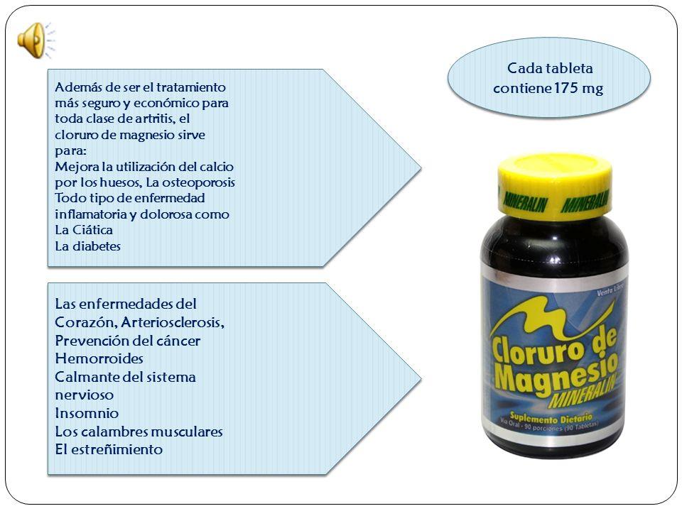 Forma de tomar el Cloruro de Magnesio SE PUEDEN TOMAR INDEFINIDAMENTE DE UNA A DOS TABLETAS COMO SOSTENIMIENTO.