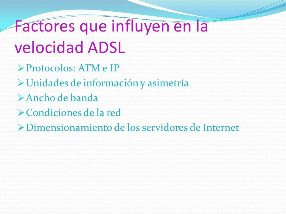 Factores que influyen en la velocidad ADSL Protocolos: ATM e IP Unidades de información y asimetría Ancho de banda Condiciones de la red Dimensionamie