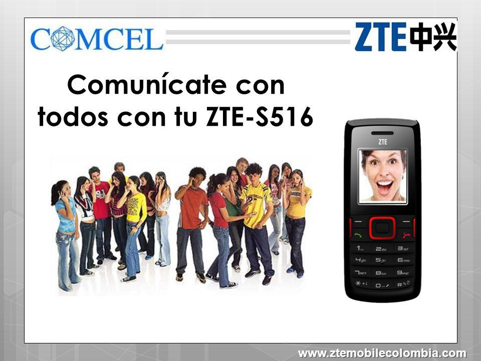 ZTE-S516 Agenda Dimensiones Tecnología Características Herramientas Organizador Contenido en caja Contactos Aceptar Atrás www.ztemobilecolombia.com