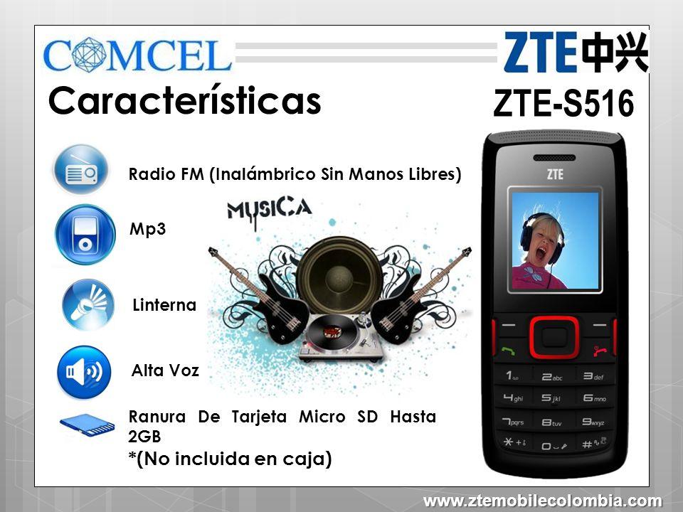 ZTE-S516 Herramientas Mensajes de texto Texto predictivo Agenda contactos 250 Juegos Calculadora Calendario Contactos Aceptar Atrás www.ztemobilecolombia.com