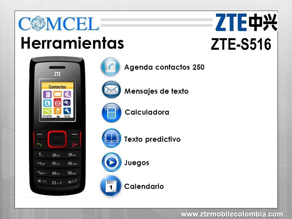 ZTE-S516 Organizador Alarma Conversor De Unidades Reloj mundial Cronometro Tareas Contactos Aceptar Atrás IMC (Índice de masa muscular) www.ztemobilecolombia.com