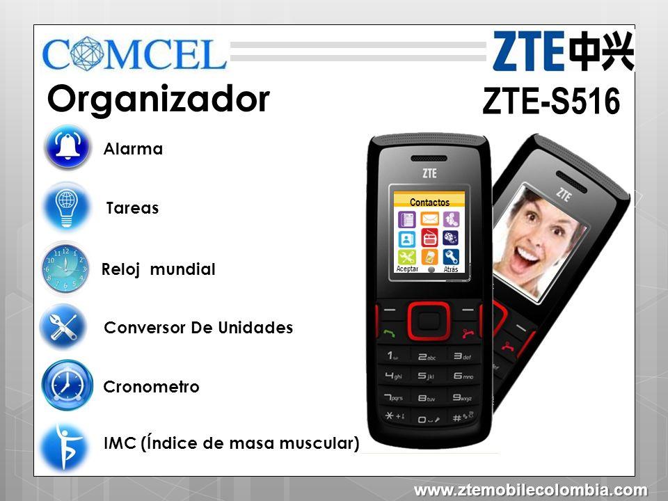 Contactos Aceptar Atrás ZTE-S516 Contenido en caja Cargador Manual Batería www.ztemobilecolombia.com